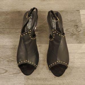 Black Studded Leather Open Toe Heels